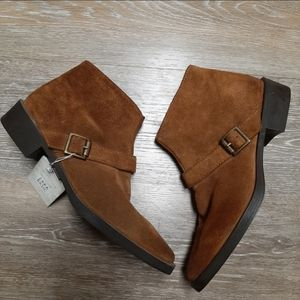ZARA Basic NWT Brown Suede Bootie With Buckle